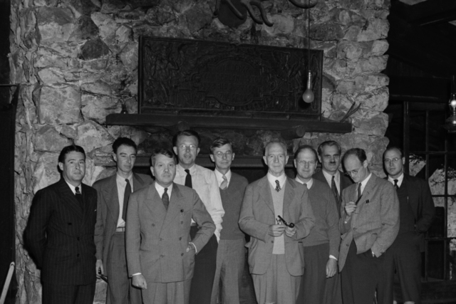OSRD (Office of Scientific Reasearch and Development) party at Bohemian Grove, (S-1 Committee  Meeting.)  Left to right: Major Thomas T. Crenshaw, J. Robert Oppenheimer, Harold Urey, Ernest Orlando Lawrence, James B. Conant, Lyman J. Briggs, E. V. Murphree, A. H. Compton, Robert H. Thornton, and Colonel K. D. Nichols, taken September 14, 1942. See also XBD201008-00906.TIF. Principal Investigator/Project: Analog Conversion Project [Photographer: Donald Cooksey]