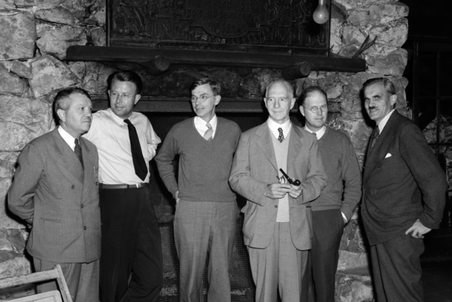 OSRD (Office of Scientific Research and Development) party at Bohemian Grove (S-1 Committee Meeting.)  Left to right: Harold Urey, Ernest Orlando Lawrence, James B. Conant, Lyman J. Briggs, E. V. Murphree, and A. H. Compton, taken September 14, 1942. Cooksey -705. See also XBD201008-00907.TIF Principal Investigator/Project: Analog Conversion Project [Photographer: Donald Cooksey]