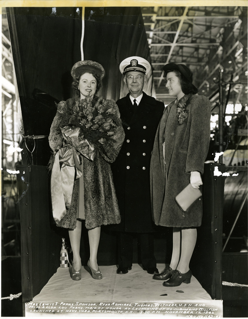 Mrs. Lewis S. Parks, Sponsor, Rear Admiral Thomas Withers, and Miss Zelda Lou Parks, Maid of Honor
