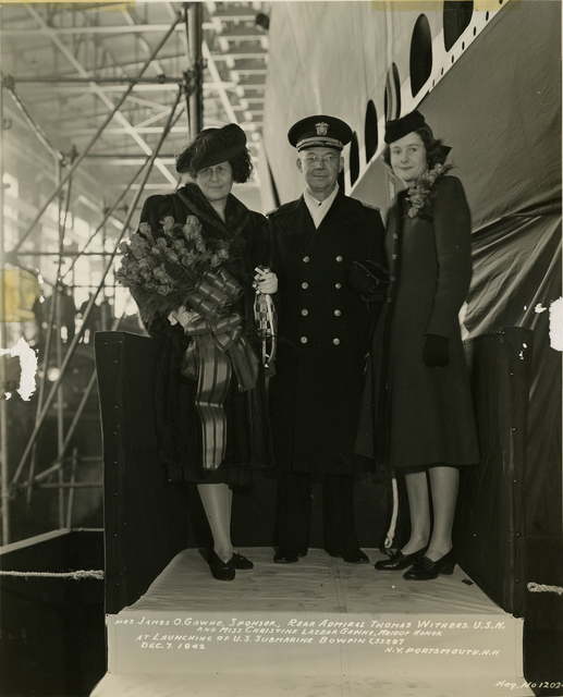 Mrs. James O. Gawne, Rear Admiral Thomas Withers, and Miss Christine Gawne at the Launch of the Submarine Bowfin