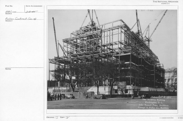 Photograph of Construction and Addition of Structural Support of the National Archives Building, Washington, D.C.