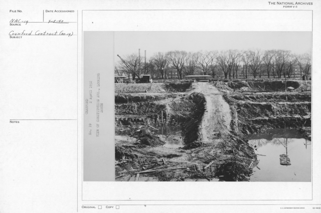 Photograph of Excavation of the Foundation for the National Archives Building View of Constitution Avenue, Looking South, Washington, D.C.
