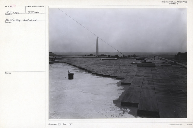 Photograph of Installation of the Roof of the National Archives Building