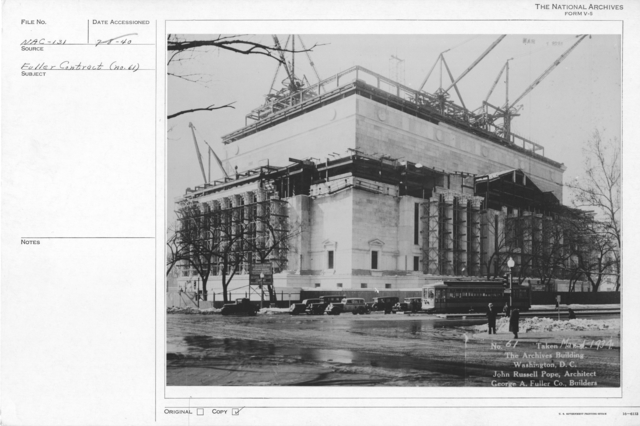 Photograph of the Advanced Construction of Exterior Walls and Columns for the National Archives Building, Washington, D.C.