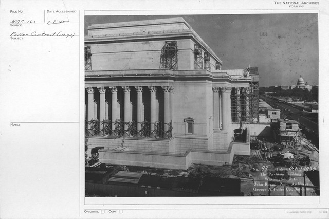 Photograph of the Almost Complete Construction of the Exterior and the Adding of Details and Sculptures to the National Archives Building, Constitution Avenue Entrance, Washington, D.C.