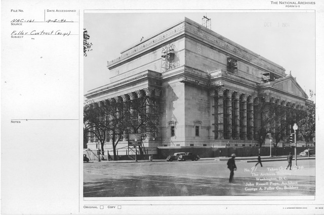 Photograph of the Almost Complete Construction of the Exterior and the Adding of Details and Sculptures to the National Archives Building, Washington, D.C.