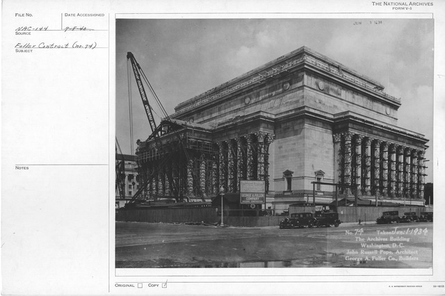 Photograph of the Almost Complete Construction of the Exterior of the National Archives Building, Washington, D.C.