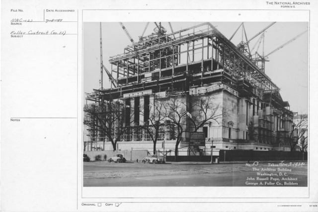 Photograph of the Construction of Exterior Walls and Columns for the National Archives Building, Washington, D.C.