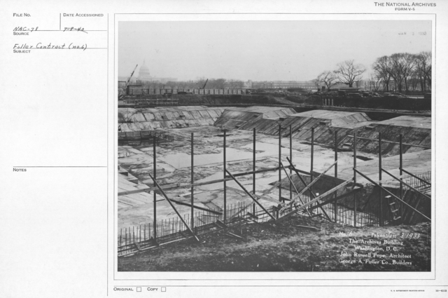 Photograph of the Construction of the Guides and Supporting Structures to Build the Walls for the National Archives Building, Washington, D.C.