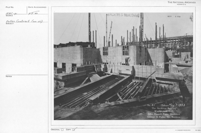 Photograph of the Construction of the Walls and Windows of the National Archives Building, Washington, D.C.