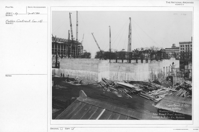Photograph of the Construction of the Walls, Doorways, and Windows of the National Archives Building, Washington, D.C.