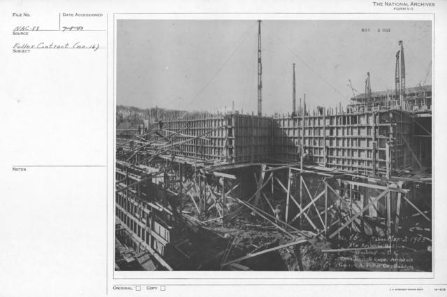 Photograph of the Construction of the Walls of the National Archives Building, Washington, D.C.