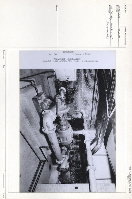 Photograph of the Cooling Water Circulation Pumps in the Sub-Basement of the National Archives Building