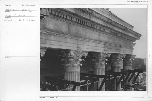 Photograph of the Corinthian Column Capitals of the National Archives Building