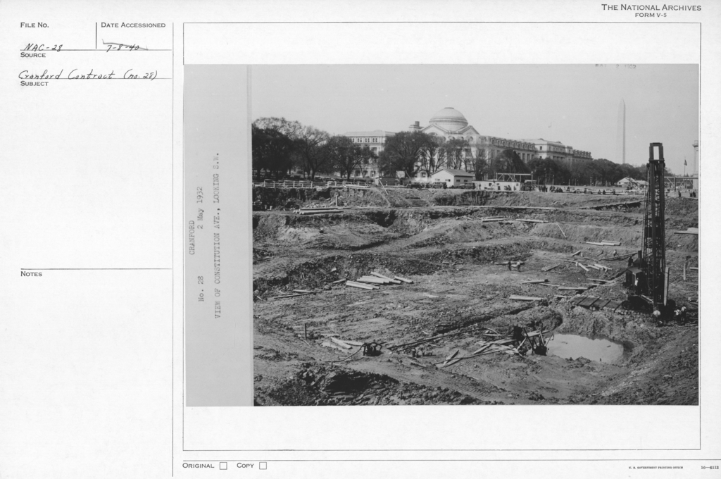 Photograph of the Excavation of the Foundation for the National Archives Building View of Constitution Avenue,  Looking Southwest, Washington, D.C.