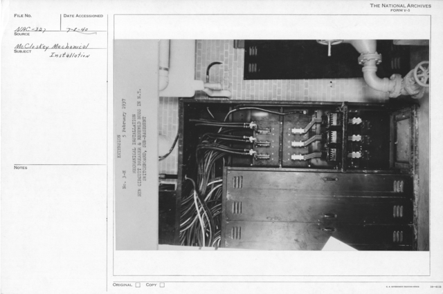 Photograph of the New Circuit Breaker and Renewed Buss in N.E. Switchboard in the Sub-Basement