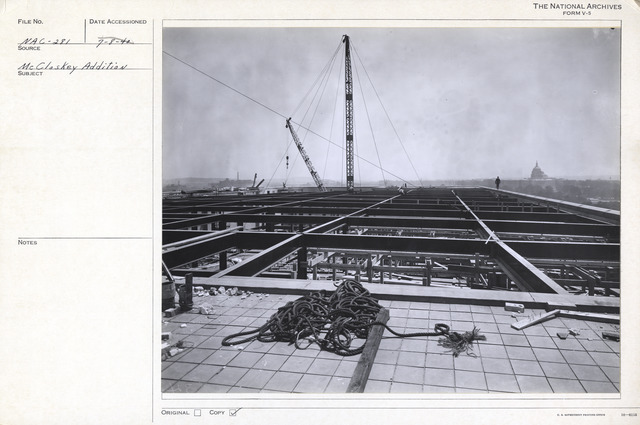 Photograph of the Roof of the National Archives Building during Construction of the Extension