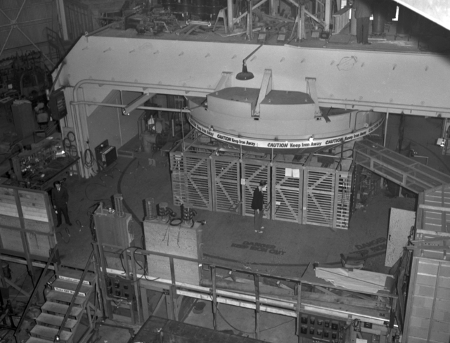 184-inch cyclotron magnet for calutron research during wartime (crane view). Photo taken 2/02/1943. Declassified 4/30/1959. Principal Investigator/Project: Analog Conversion Project