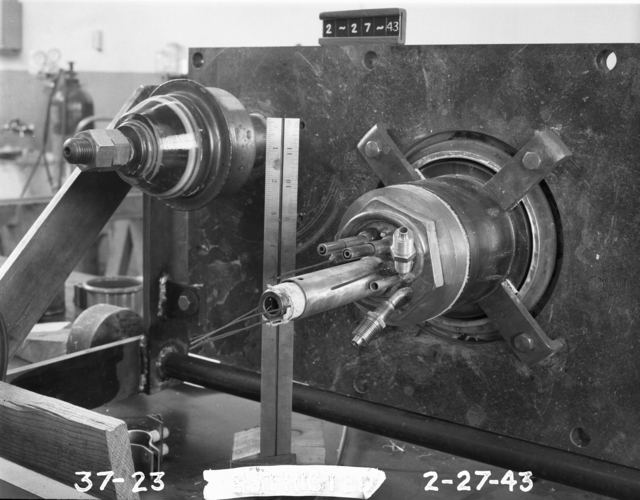 "37-inch cyclotron, Stanley Frankel (Frankelstein) assembly in place. Photo taken 2/27/1943. 37""-23. Principal Investigator/Project: Analog Conversion Project"