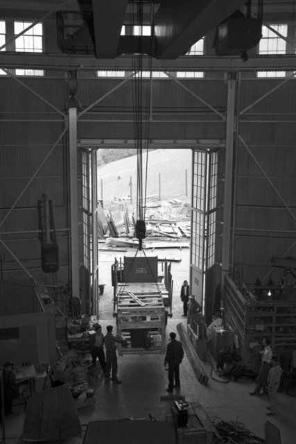 184-inch cyclotron, calutron research during wartime (crane view out doorway). Photograph taken, 3/03/1943. Principal Investigator/Project: Analog Conversion Project