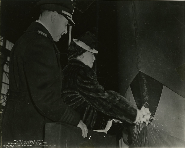 Mrs. T. Withers Christens the USS Apogon at the Portsmouth Naval Shipyard