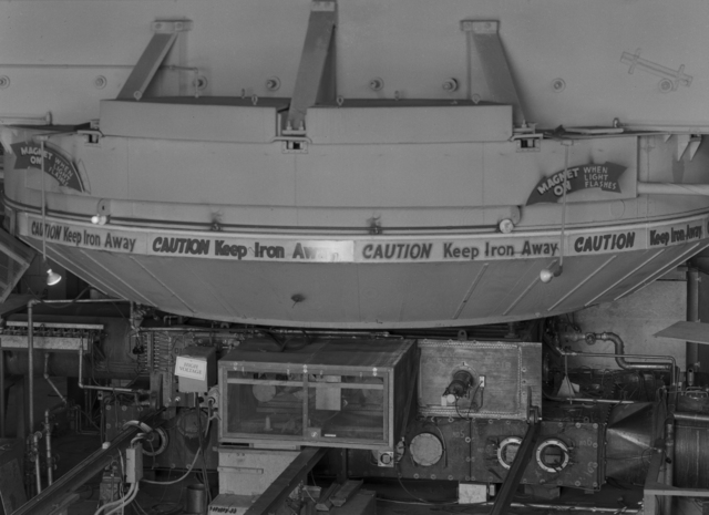 184-inch cyclotron, calutron research during wartime (crane view of magnet). Photo taken 3/17/1943. Confidential, declassified 4/30/1959. Principal Investigator/Project: Analog Conversion Project