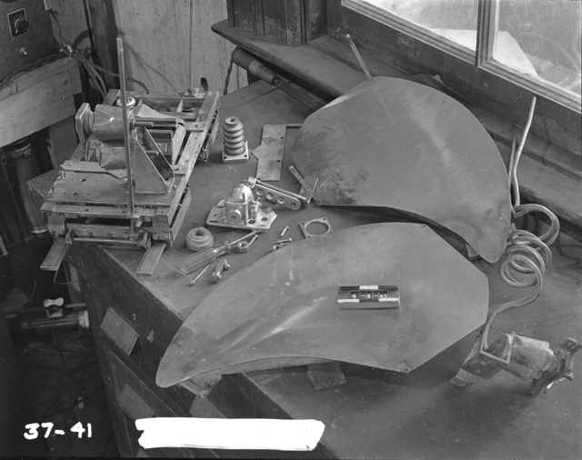"37-inch cyclotron, William Peters' equipment known as ""duck bill."" Photo taken 4/08/1943. 37""-41. Principal Investigator/Project: Analog Conversion Project"
