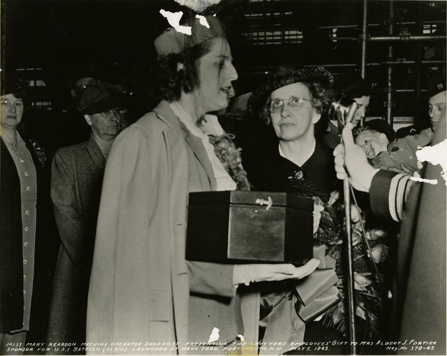 Miss Mary Reardon Presents the Navy Yard Employees' Gift to Mrs. Albert J. Fortier