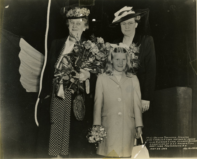 Miss Malvina Thompson, Mrs. Charles E. Lund, and Miss Eleanor Lund at the Launch of the USS Archer Fish