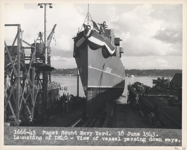 Launching of the USS Sanders (DE40) at Puget Sound Navy Yard