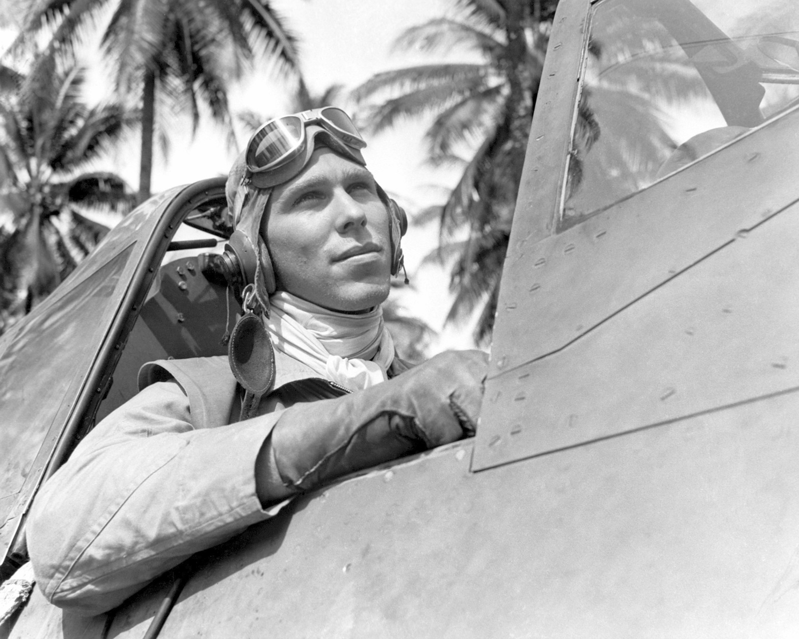 "World War II (WWII) era photograph of US Marine Corps (USMC) First Lieutenant (1LT) Frank B. Baldwin, taken at Russell Islands July 3, 1943 as he sits in the cockpit of a USMC F4U""CORSAIR""aircraft. 1LT Baldwin is an Ace Pilot credited with 10 kills"