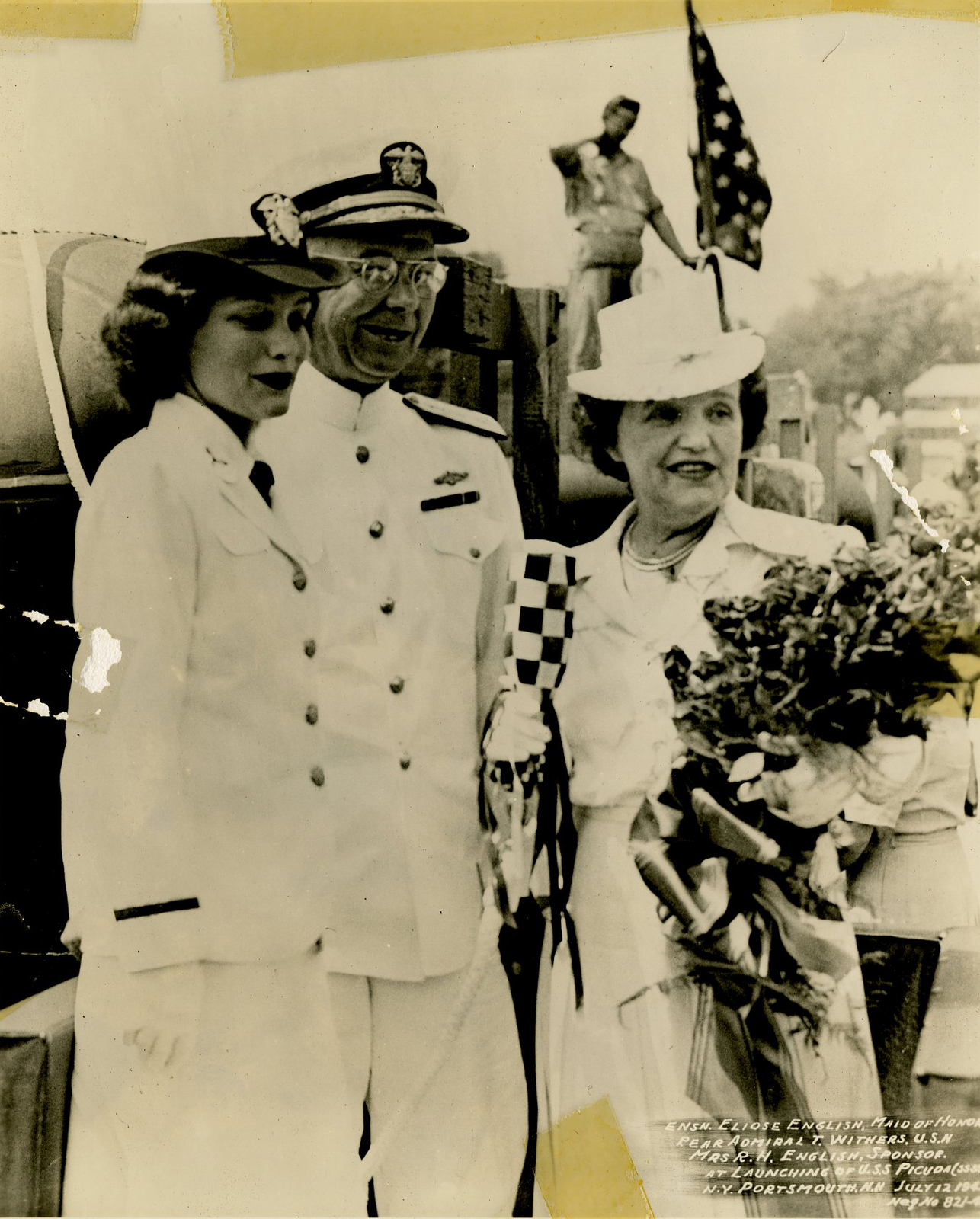 Ensign Eliose English, Rear Admiral T. Withers, and Mrs. R. N. English at the Launching of the USS Picuda