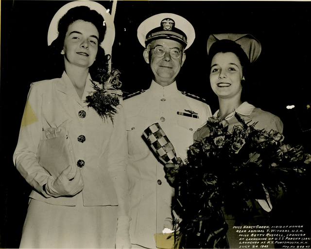 Miss Nancy Green, Rear Admiral T. Withers, and Miss Betty Russell at the Launch of the USS Parche