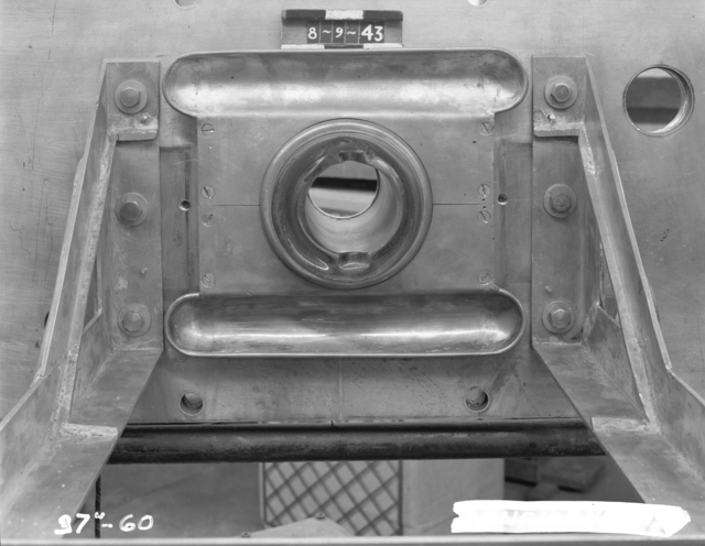 "37-inch cyclotron M2, muffin pan shield, brushing sleeve, and C-support frame. Photo taken 8/09/1943. 37""-60. Principal Investigator/Project: Burton J. Moyer"