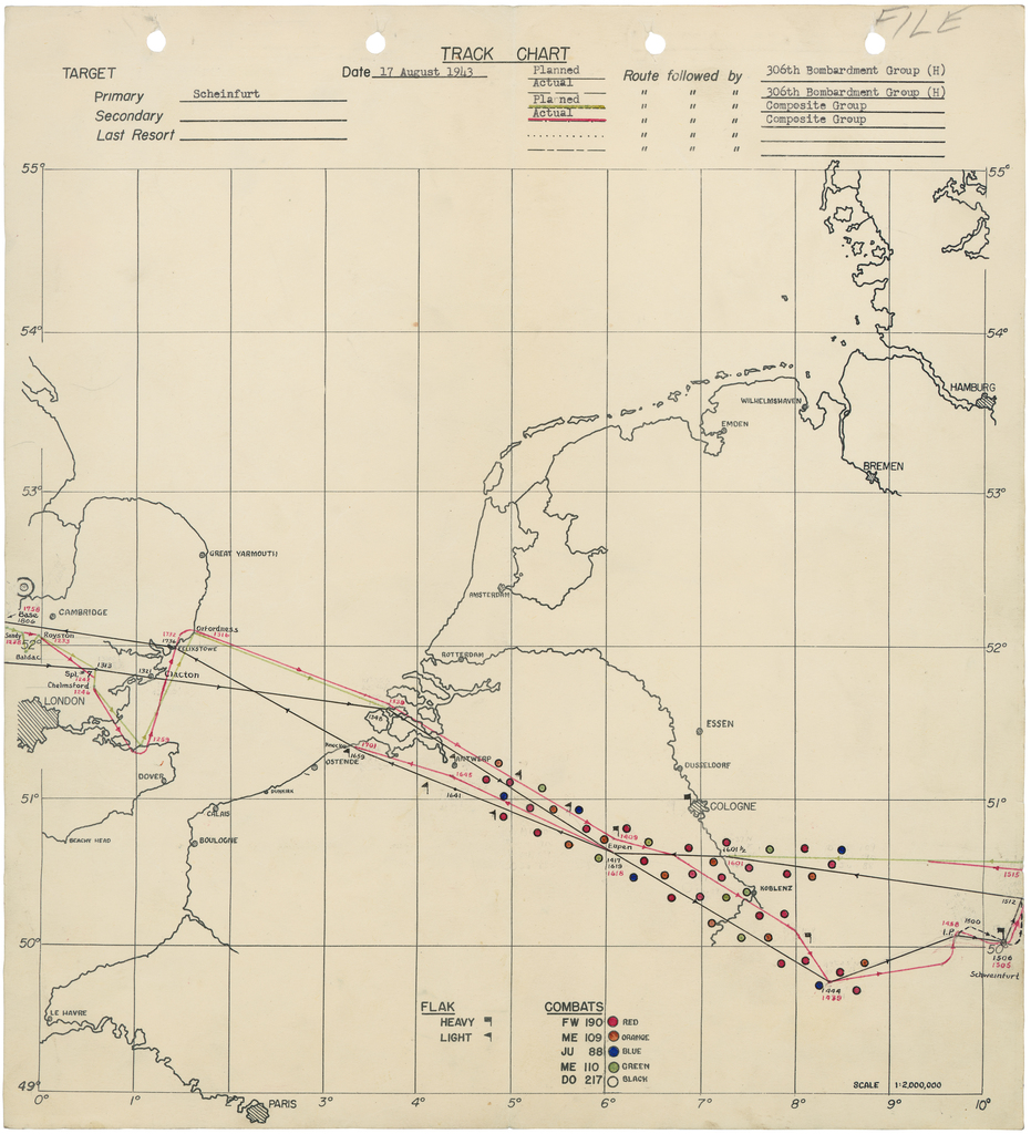 Track Chart of Bombing Mission to Schweinfurt