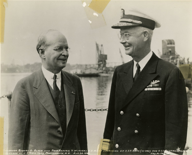 Governor Robert O. Blood and Rear Admiral T. Withers at the Launch of the USS Bang and the USS Pilotfish