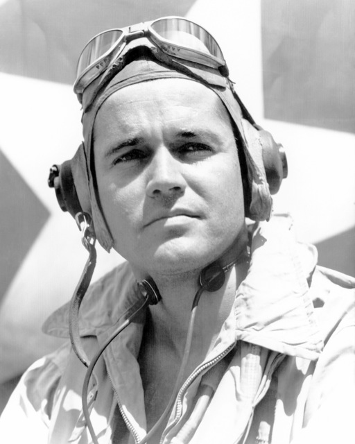 World War II (WWII) era photograph of US Marine Corps (USMC) Major (MAJ) Donald H. Sapp, taken at Russell Islands September 15, 1943. MAJ Sapp is an Ace Pilot credited with 11 kills.  (Substandard image)