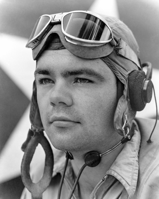 "World War II (WWII) era photograph of US Marine Corps (USMC) First Lieutenant (1LT) William N. Case, Marine Fighter Squadron 214 (VMF-214)""Black Sheep""taken at Russell Islands, October 5, 1943. 1LT Case is an Ace Pilot credited with 8 kills"