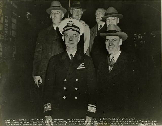 Rear Admiral T. Withers, Senator Ralph Brewster, Senator Charles Tobey, ex-Governor Alvan Fuller, Congressman Charles Plumley, and Senator Frances Maloney