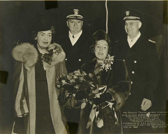 Mrs. Rufus G. Thayer, Rear Admiral Robert A. Theobald and Wife, and Rear Admiral T. Withers at the Launch of the USS Queenfish