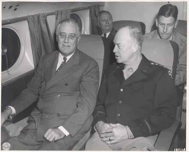 President Franklin D. Roosevelt with Dwight D. Eisenhower aboard an Airplane Enroute from North Africa to Sicily