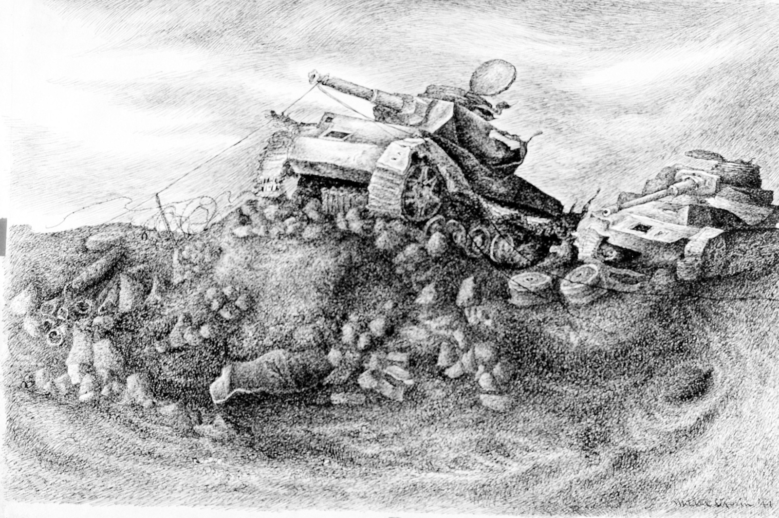 "Artwork: ""Enemy Tanks at Ponte Rotto""Artist: Mitchell Siporin, Anzio, Italy, 1944"