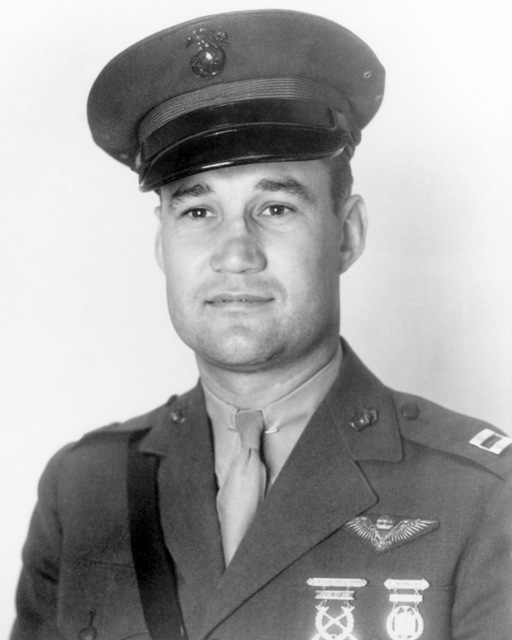 United States Marine Corps Captain (CPT) Harold William Bauer.  Official Portrait.  By November of 1942, Captain Bauer was promoted to Lieutenant Colonel and was awarded the Medal of Honor