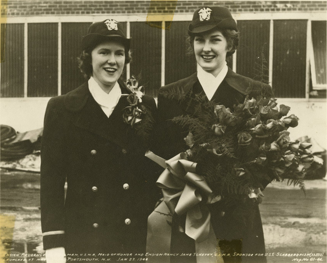 Ensigns Prudence H. Wellman and Nancy Jane Schetky at the Launch of the USS Scabbardfish