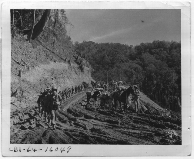 American Troops of Merrill's Marauders and the Chinese March Side by Side Down the Ledo Road