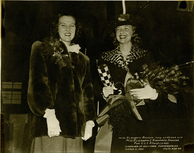 Miss Elizabeth Barnum and Miss Elizabeth L Kauffman at the Launch of the USS Atule