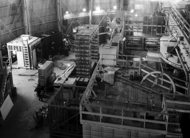 North side of 184-inch cyclotron, platform and XC magnet (crane view). Photo taken 4/11/1944.  Confidential, declassified 4/30/1959. Principal Investigator/Project: Analog Conversion Project