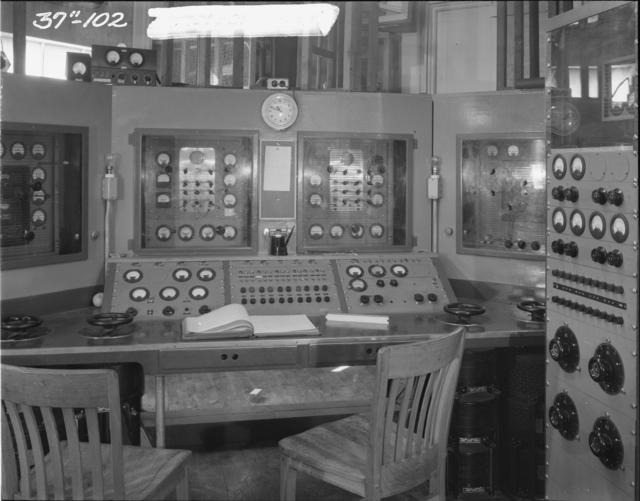 "37-inch cyclotron, control panel. Photo taken 4/12/1944. 37""-102. Principal Investigator/Project: Analog Conversion Project"