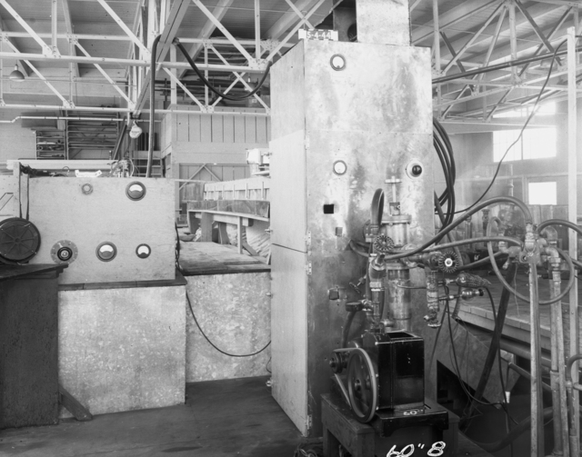 """Crocker Laboratory, 60-inch cyclotron, general view from front of rectifier cage showing oscillator and transmission lines. Photo taken 5/03/1944. Declassified 1954. 60""""-8 Principal Investigator/Project: Crocker Lab/60-inch"""