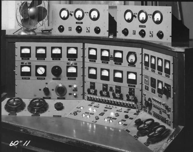 "Crocker Laboratory, 60-inch cyclotron, control panel and desk. Photo taken 5/06/1944. Declassified 1954. 60""-11 Principal Investigator/Project: Crocker Lab/60-inch"